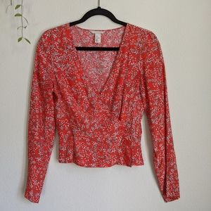 H&M Red Wrap Floral Top